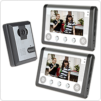 7 Inch LCD Color Video Door Phone Intercom Kit 1 IR Camera & 2 Monitors with Night Vision