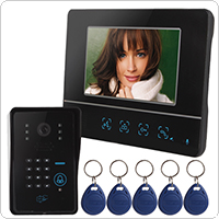 7 Inch Color LCD Display Video Door Phone with Card Unlock Functions & Remote Wireless Control