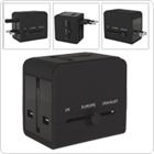Black 2 USB Port & Sockets Power Plug Charger Adapter for World Travel