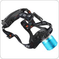 Blue 600 Lumens Waterproof 3 Modes XM-L T6 LED Zoomable Headlamp with Power Adapter