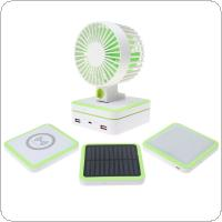 Portable Noiseless Fan + Qi Wireless Chager + Camping Lamp + Solar Panel + Power Bank