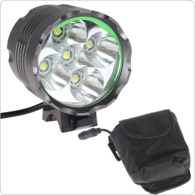 High Power 2500LM 5 x LB-XL T6 LED Bicycle Light Headlamp with 8.4V 8000mAh Battery