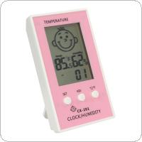 Baby Face Lcd Digital Wireless Thermometer Hygrometer Temperature Humidity Meter Electronic Clock