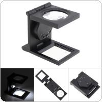 10X Metal Tri Folding Handheld Desktop Magnifying Glass with LED Lights for Reading and Inspection