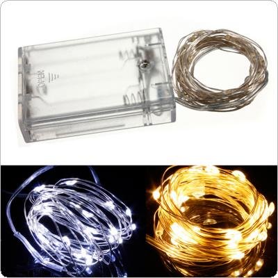 6.5FT/2M 20Leds Battery Powered Copper Wire String Fairy Light Lamp Warm White / White