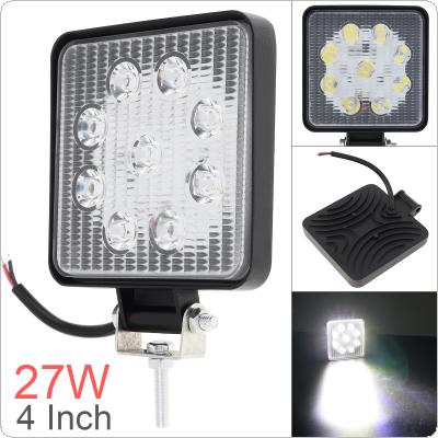 4 Inch 12V/24V 1800LM 27W Waterproof Square LED Work Light for Motorcycle / Tractor / Boat / 4WD Offroad / SUV / ATV