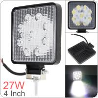 4 Inch 12V/24V 1800LM 27W Waterproof Square LED Work Light for Motorcycle / Tractor / Boat / 4WD Off Road / SUV / ATV