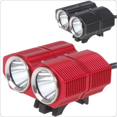 Red / Black 1200Lm Waterproof 2 x XM-L T6 LED Bicycle Light with 8.4V 6400mAh Battery Pack