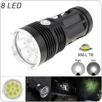 Outdoor Waterproof 3-Mode 2400LM 8 x XML T6 LED Flashlight Torch Lamp for Hunting / Camping / Hiking