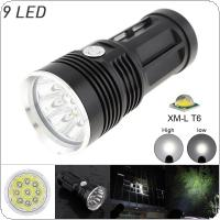 Waterproof Black 2700LM  9x XML T6 LED 3-Mode Outdoor Flash Lamp Torch for Hunting / Camping