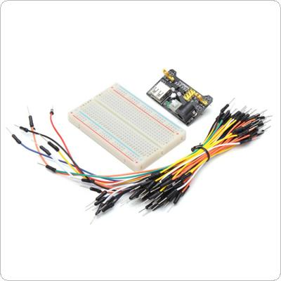 MB102 Power Supply and 65pcs Jumper Cable and 400 Holes Breadboard Kit
