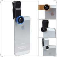 3 in 1 Fisheye & Macro Len & Wide Angle Clip Lens Fit for iPhone / HTC / Blackberry / Samsung / Nokia