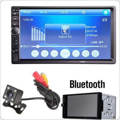 7018B 7 Inch LCD HD Double DIN Car In-Dash Touch Screen Bluetooth Car Stereo FM MP3 MP5 Radio Player with Wireless Remote Control