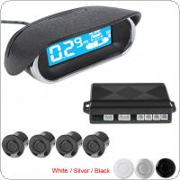 Car LED Display 4 x Sensors Kit Reversing Parking Radar Buzzer System with 250cm Detecting Distance