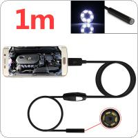 1m/3.2ft 5.5mm 720P 6 LEDs Snake Endoscope Waterproof Borescope Micro USB Inspection Video Camera for Android & PC
