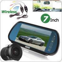 "7"" TFT LCD Car Rear View Backup Mirror Monitor + Waterproof 18mm / 170 degrees Embedded IR Reverse Camera + Wireless Video Transmitter and Receiver"
