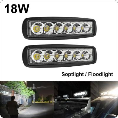 2 x 18W 6 LED Work Light Bar Spot/Flood Offroad SUV Car Boat Driving Lamp