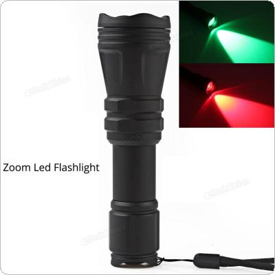 B168 Convex Lens Zoom Flashlight LED Torch Waterproof Tactical zoomable Hunting Flashlight Red / Green Light