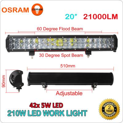 20 Inch 210W LED Light Bar Combo Beam Car Work Light 4WD Off-Road Driving Lamp