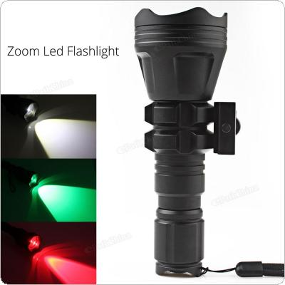 900LM B158 Convex Lens Zoom Tactical Flashlight XM-L2 U4 LED Torch Hunting Light with 3 Bulbs Red/ Green/ White