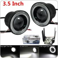 2pcs 3.5 Inch Car COB LED Fog Light Projector White Angel Eye Halo Ring DRL Driving