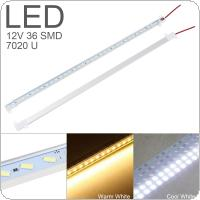 LED Rigid Strip Light 50cm 12V 36 SMD 7020 U Shape White Aluminum Alloy Shell Cabinet Lamp Bar