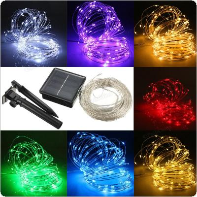 17M 150 LED Solar Powered Silver Wire String Fairy Light Xmas Party Decor