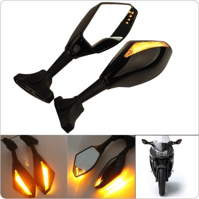 Black Motorcycle  LED Turn Signals Rearview Sport Bike Mirrors for HONDA for SUZUKI for KAWASAKI for YAMAHA for Triumph for Ducati