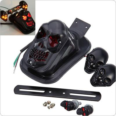 Modified Motorcycle Accessories LED Black Skull Taillight+Turn Signal Personalized Motorbike Tail Lights Plus Steering