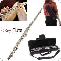 LADE Silver Plated 16 Closed Holes CKey Flute with Case / Cloth / Screwdriver