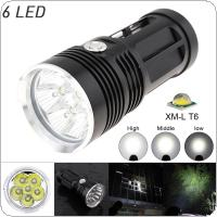 Waterproof 6x XM-L XML T6 LEDs 3 Modes 1800 Lumens Outdoor LED Flash Lamp Flashlight
