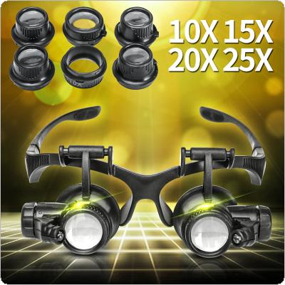 10X 15X 20X 25X High Quality LED Magnifier Double Eye Glasses Loupe Lens Jeweler Watch Repair 4X Magnifier Measurement Tools