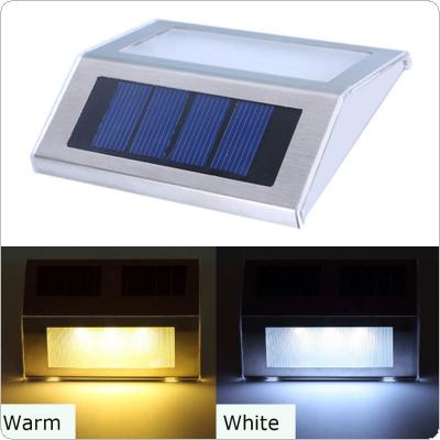 Outdoor 2 LED Solar Powered Light Stainless Waterproof Wall Lamp for Stair / Fence / Garden / Yard
