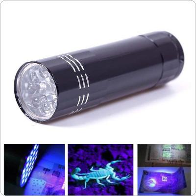 395nm Mini Aluminum UV Ultra Violet 9 LED Multi-function Banknote Flashlight Torch Inspect Money