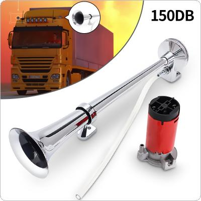 150dB 12V Single Trumpet Air Horn Chrome Super Loud For Truck Lorry Boat Train