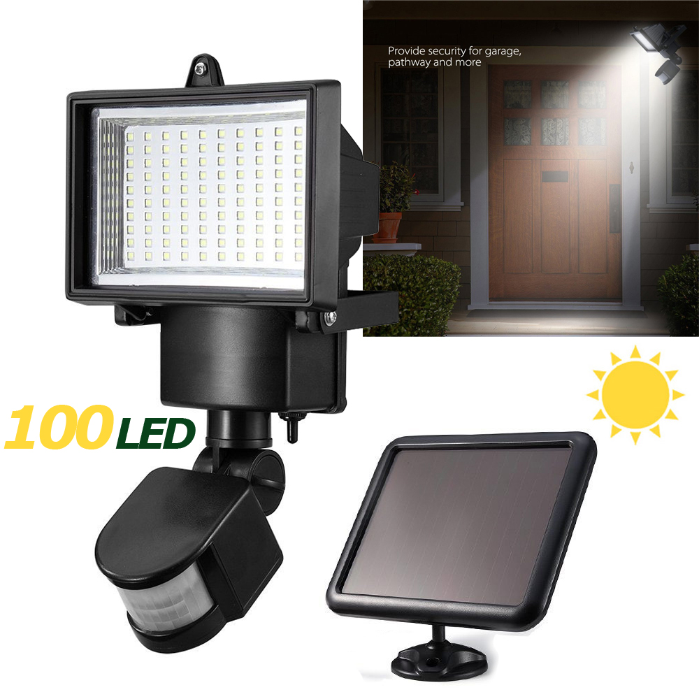 100 SMD LED 5W Solar Powered Sensor Security Light Motion Outdoor Garden Flood Lamp