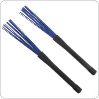 1 Pair Retractable Blue Nylon Jazz Drum Brushes Sticks with Rubber Handles