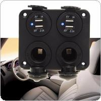 Car 12-24V Dual USB Adapter Charger + Cigarette Lighter Sockets with Blue LED Indicator