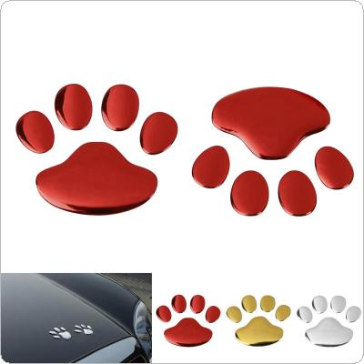 1 Pair Dog Paw Footprint 3D PVC Car Sticker Nick Cover Sticker