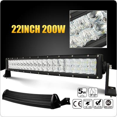 22 inch 200W Car LED Curved Worklight Bar 40x 5D Chips Combo Offroad Light Driving Lamp for Truck SUV 4X4 4WD ATV