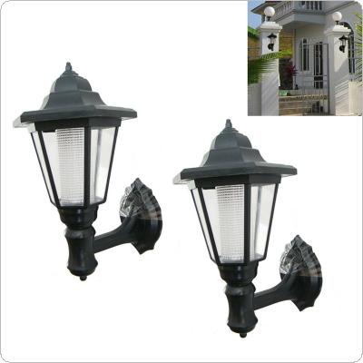 2Pcs Outdoor Solar Garden LED Lamp Green Power Building Wall Path Hanging Lights
