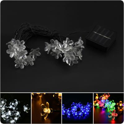OriGlam 4 Light Color Solar Twinkling Cherry Blossom String Lights 15ft 20 LEDs Decorative Garden   Window Porch Lawn Lamp for Christmas Wedding Party
