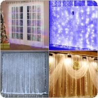 Origlam 110V 9.8ft x 9.8ft 304 LEDs Fairy Curtain String Lights with 8 Lighting Modes Controlled for Valentine Day / Wedding / Party