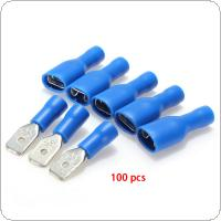 100pcs  Blue Female/Male Insulated Electrical Crimp Terminal Connectors