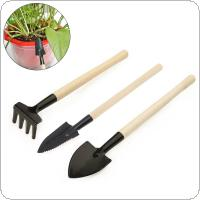 3pcs/set Mini Garden Tools Small Shovel Rake Spade Wood Handle Metal Head Garden Tools
