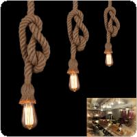 1m Single Heads Retro Rope Loft Vintage Lamp Bedroom Dining Room Pendant Hand Knitted Hemp Rope Light