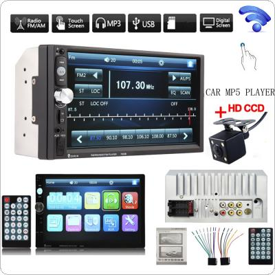 7023B 7 Inch HD Bluetooth Car Stereo Radio In-Dash Touchscreen 2 DIN FM MP5 Player  + 420 TV Lines IR Camera