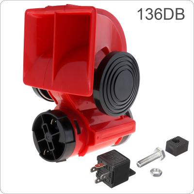 12V 136db Red Snail Compact Air Horn Air Car Truck Motorcycle Boat RV