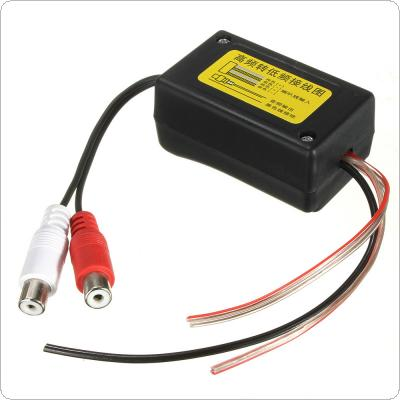 High to Low Level Car Speaker RCA Converter with Ground Wire