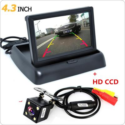 1 set Foldable 4.3 Inch TFT LCD Mini Car Monitor with Rear View Backup Camera for Vehicle Reversing Parking System